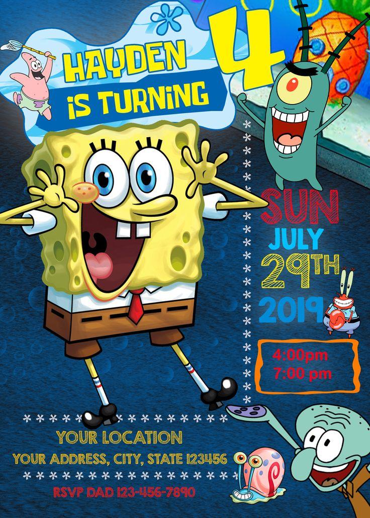 spongebob squarepants birthday invitation 2