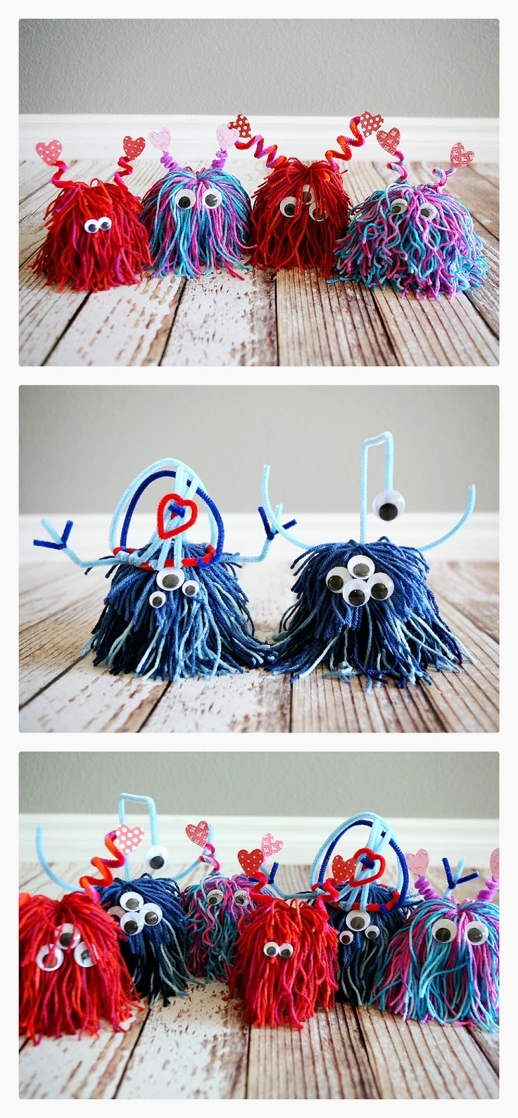 lil love monsters , love these! So cute with just some string, pipe cleaners and a paper cup... Add some googly eyes and you have the cutest little valentine project