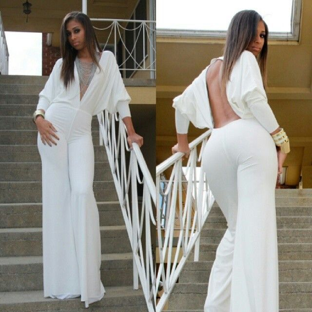 Elegant  Colors All White Jumpsuits 02 All White Jumpsuits 02 Jumpsuits 3 Views