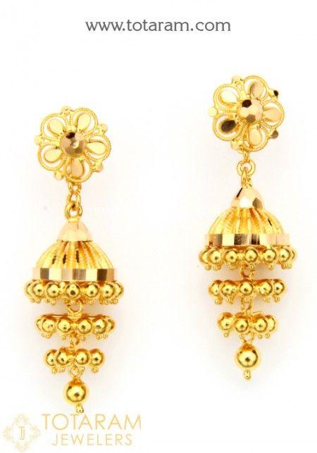 08e50f17b Gold Drop Earrings - Buy Online 22K Indian Gold screw back Drop Earrings,  South Indian