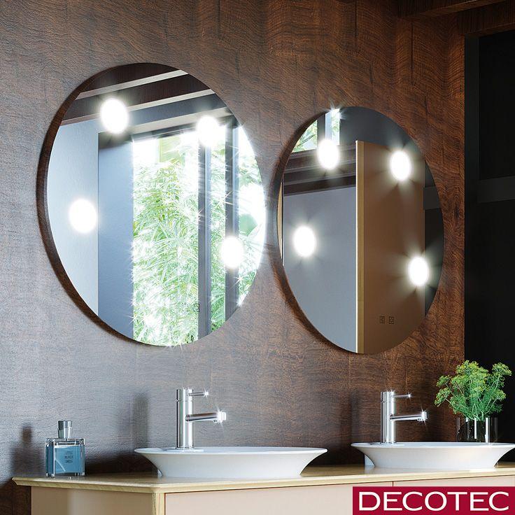 Collection 2018 Decotec Le Miroir De Salle De Bains Tiffany Rond 70 Cm Avec Led Par Spots Integr Miroir De Salle De Bain Miroir Rond Salle De Bains Miroir Rond