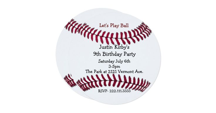 Fun round birthday party invitation, with graphics of red baseball stitching, on a white background. Customize the black and red text for your son's sports themed birthday party.