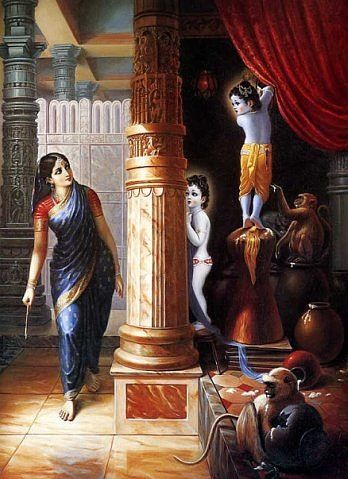 Sometimes Krishna & Balarama would enter the homes of the gopis & steal butter, milk & curd. They would eat & drink & feed the monkeys until they had their bellies full. Thus the gopis would complain to Mother Yashoda about Krishna's activities. Actually the gopis were so attracted to Krishna,that they could not chastise Him. They simply enjoyed discussing & hearing about His activities.
