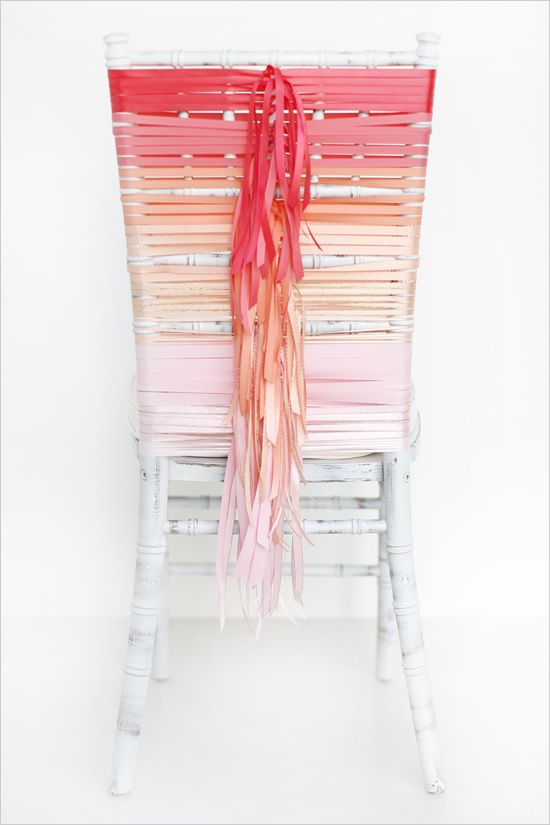 """ombre DIY ribbon wrapped wedding chair, Cor you could do this for just your & Jordan's chairs with signs of """"his & hers"""" Mr. & Mrs"""" etc..."""