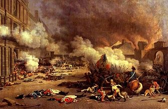 """On 10 August 1792, during the French Revolution, revolutionary Fédéré militias — with the backing of a new municipal government of Paris that came to be known as the """"insurrectionary"""" Paris Commune and ultimately supported by the National Guard — besieged the Tuileries palace. King Louis XVI and the royal family took shelter with the Legislative Assembly. This proved to be the effective end of the French Bourbon Monarchy."""