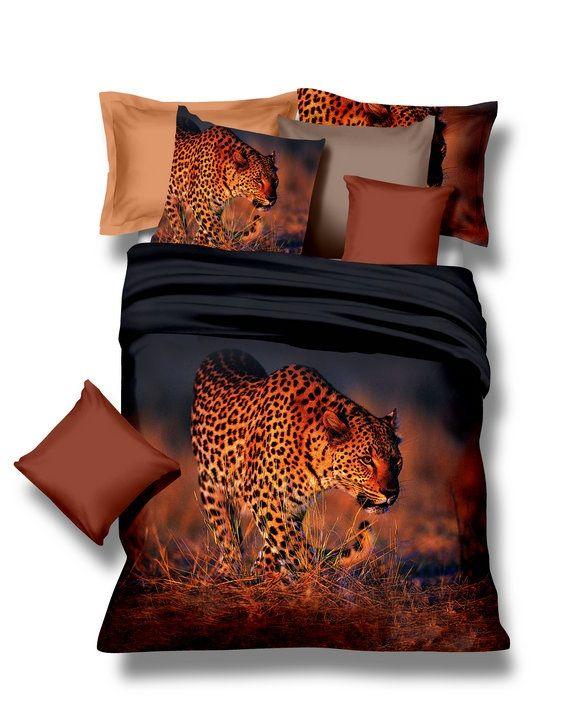 Posteľné návliečky čiernej farby s leopardom