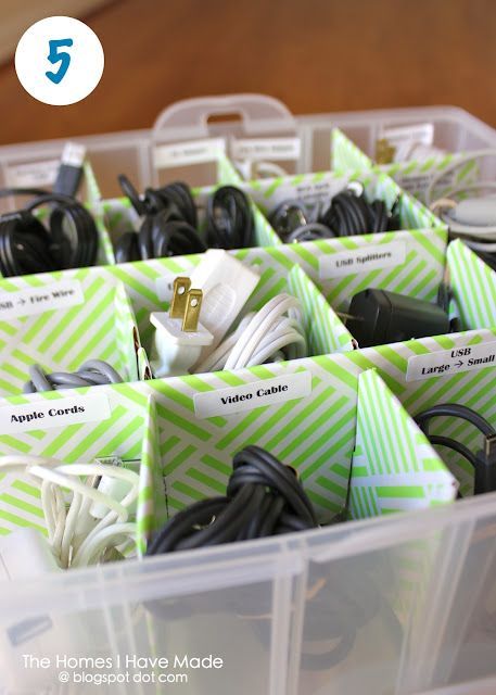 The Homes I Have Made: Organize Your Cords (using an ornament box!)  I did start... put all the cords and chargers I found into one basket...