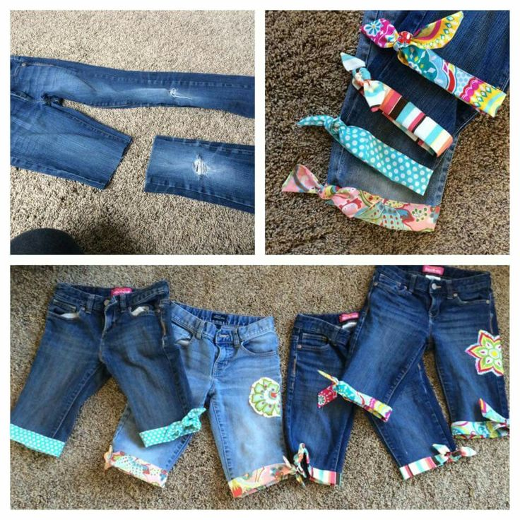 Cute Idea for worn out jeans. Iron on some fabric or headbands and make some cute Shorts
