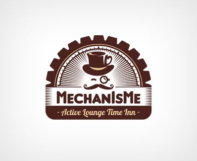 """MechanIsMe"" - логотип для модного стимпанк-антикафе. Дизайнер - Ольга Шу. #логотип #стимпанк #механизм #антикафе #таймклуб #цилиндр #кафе #кофе #шестеренка #steampunk #mechanism #cafe #gear #coffee #logo #лого #дизайн #design #logodesign #logotype #tailroom #inspiration"