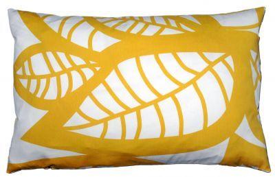 Mairo yellow Hosta cushion cover. Designed by Linda Svensson Edevint.