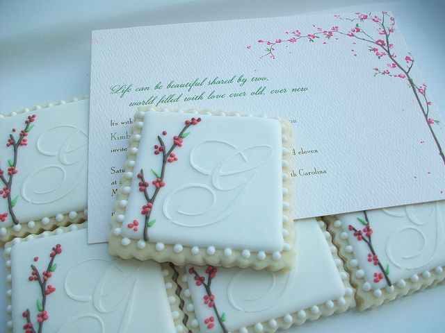 Another cookie hero of mine - Polka-dot Zebra created these beauties as wedding favors.  Seriously!  They are perfect.