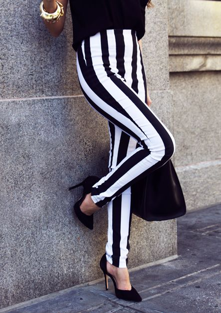 Black and white striped high waisted pants.