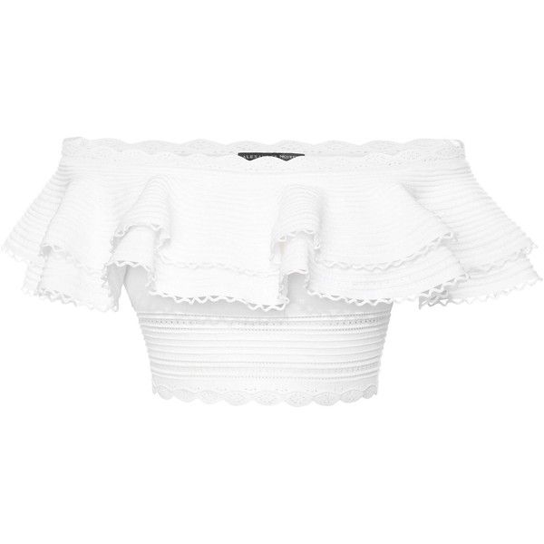 Alexander McQueen Off The Shoulder Cropped Top (£1,195) ❤ liked on Polyvore featuring tops, shirts, crop tops, cropped, white, white ruffle top, white shirt, ruffle shirt, white top and ruffle crop top