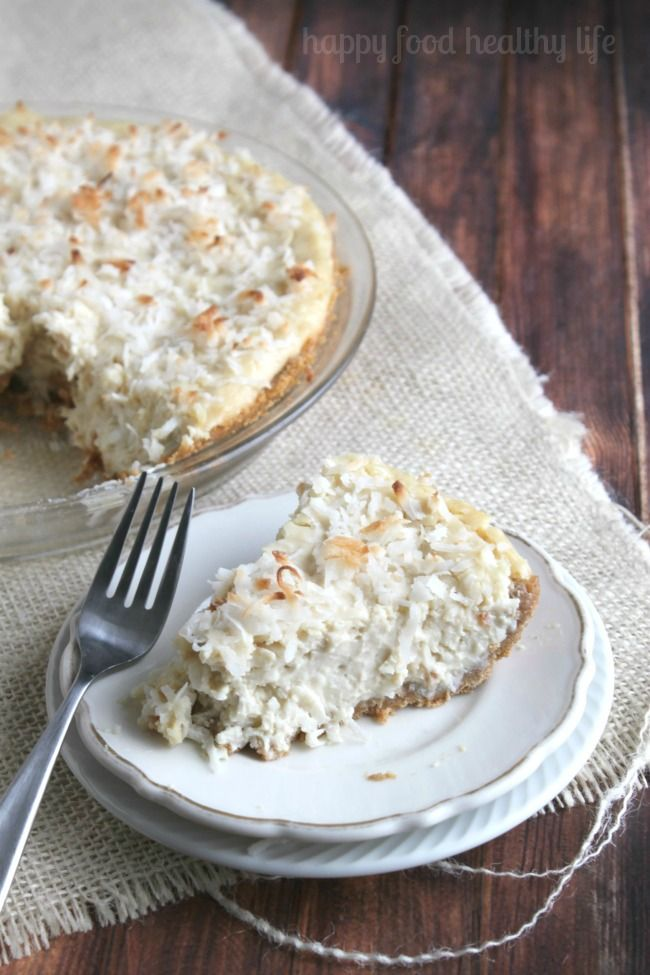 Vegan Coconut Cream Pie - www.happyfoodhealthylife.com - make with a nut crust.. perhaps chocolate