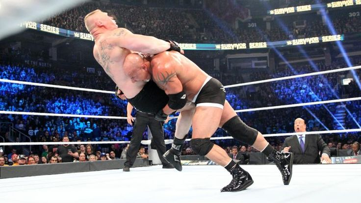 Goldberg takes down Lesnar with a Spear.