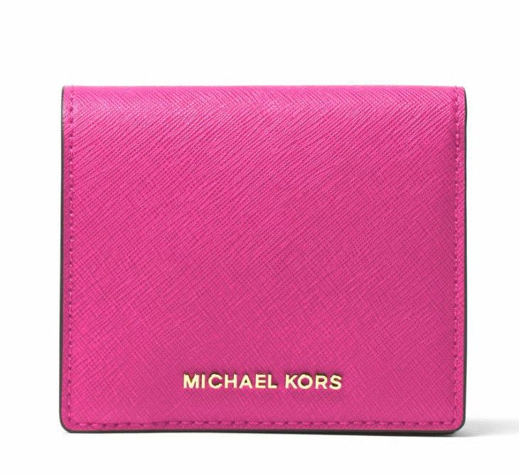 NEW Auth Michael Kors Jet Set Travel Carryall Card Case Wallet ~Raspberry #MichaelKors #ClutchWallet