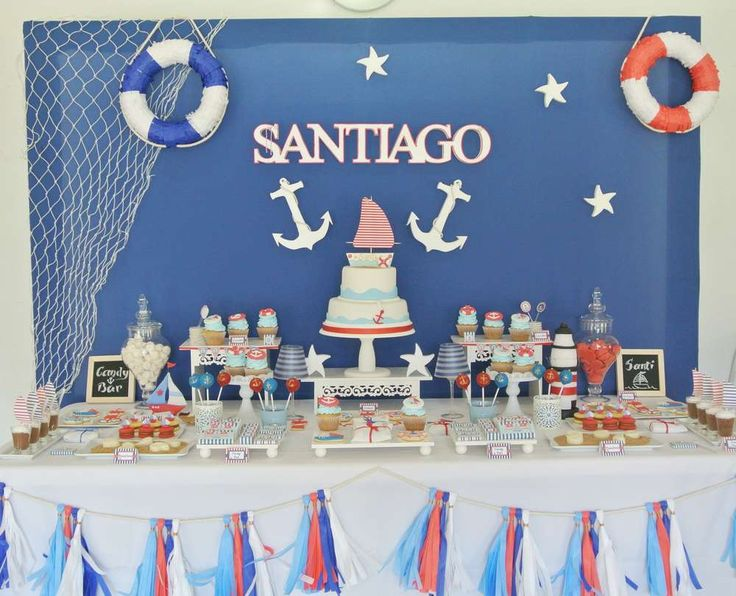 Amazing dessert table at a nautical birthday party! See more party planning ideas at CatchMyParty.com!