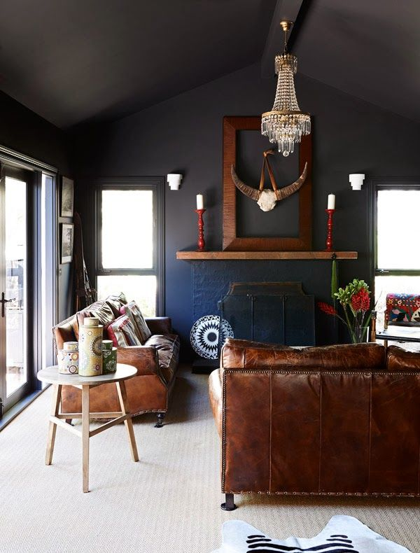 dark: Interior Design, Ideas, Wall Color, Interiors, Dark Walls, Living Room, Black Wall, Rooms
