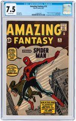 "https://www.hakes.com//Auction/ItemDetail/216543/AMAZING-FANTASY-15-AUGUST-1962-CGC-75-VF-FIRST-SPIDER-MAN This issue of ""Amazing Fantasy"" comic book, Aug. 15, 1962, marks the debut of Spider-man and the first time Spider-Man made the cover. This example sold for $140,760 during a Nov. 2017 auction at Hake's Americana, www.hakes.com/"