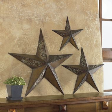 """Set of 3. Metal Star Wall Art - from J.C. Penney on sale for $36.99 Rustic brown finish,embossed motif, each measures 14"""", 20"""" and 26""""H - NICE"""