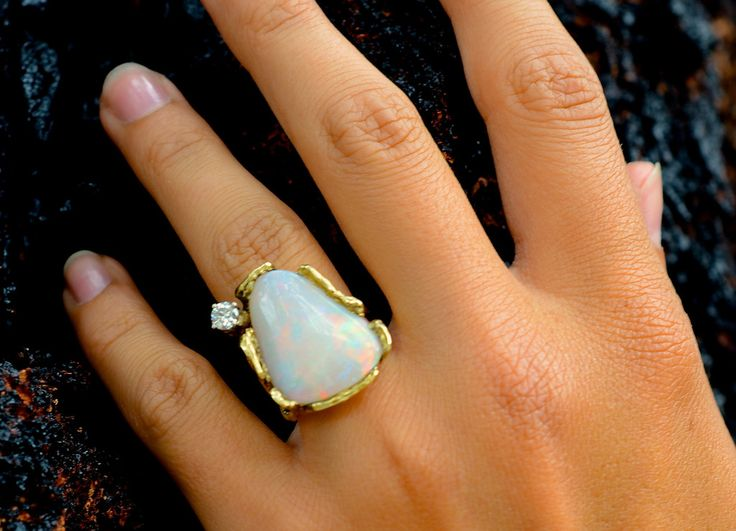 Opal and Diamond Nugget Ring,14kt, Renaissance Festival – Hair Twisters