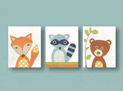 Lot de 3 illustrations pour chambre d'enfant et bebe, ours, renard,  : Décoration pour enfants par galerie-anais sur ALittleMarket