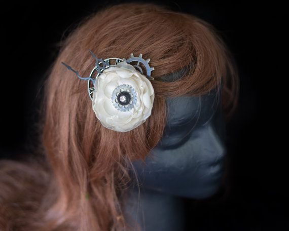 Steampunk Wedding Fascinator Steampunk Clock Hair by LilyMairi