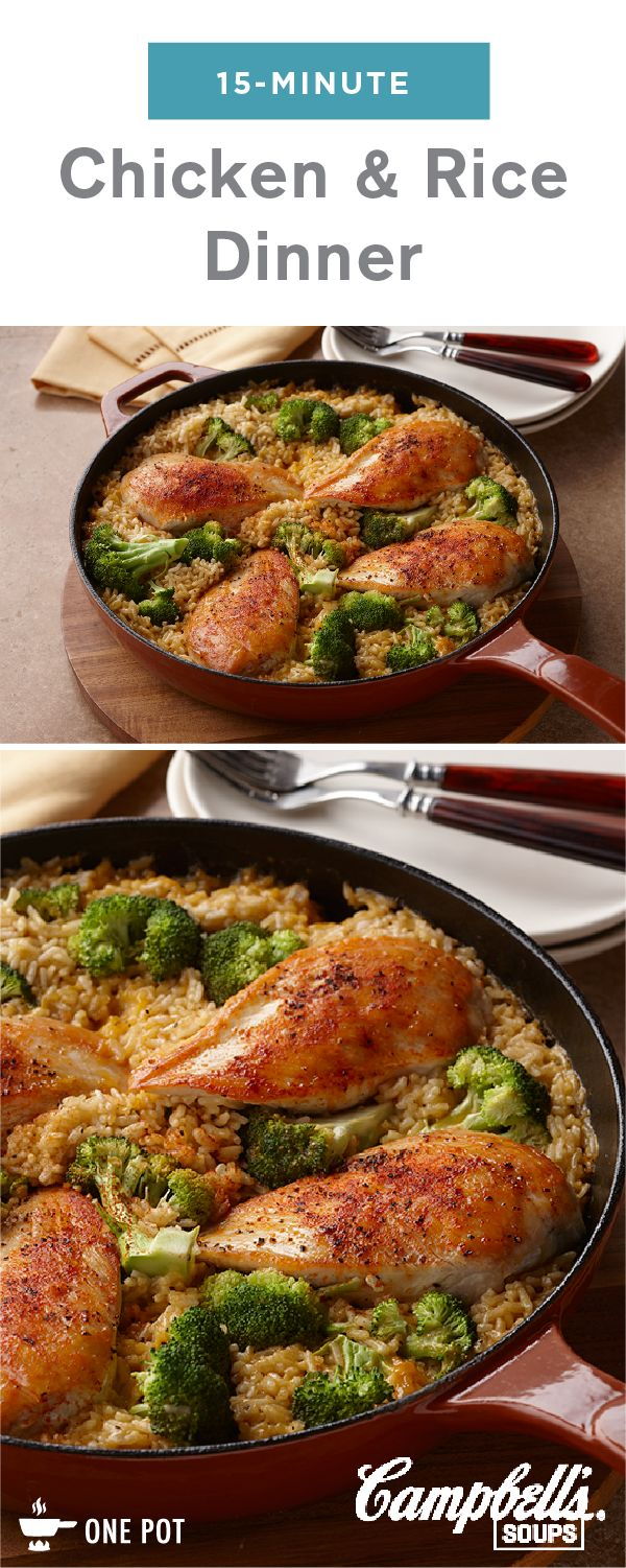 We know you're busy, so we've created this family-friendly, skillet dish just for you.  15-Minute Chicken and Rice Dinner has everything you look for in an easy recipe—including chicken, broccoli, and a creamy sauce!