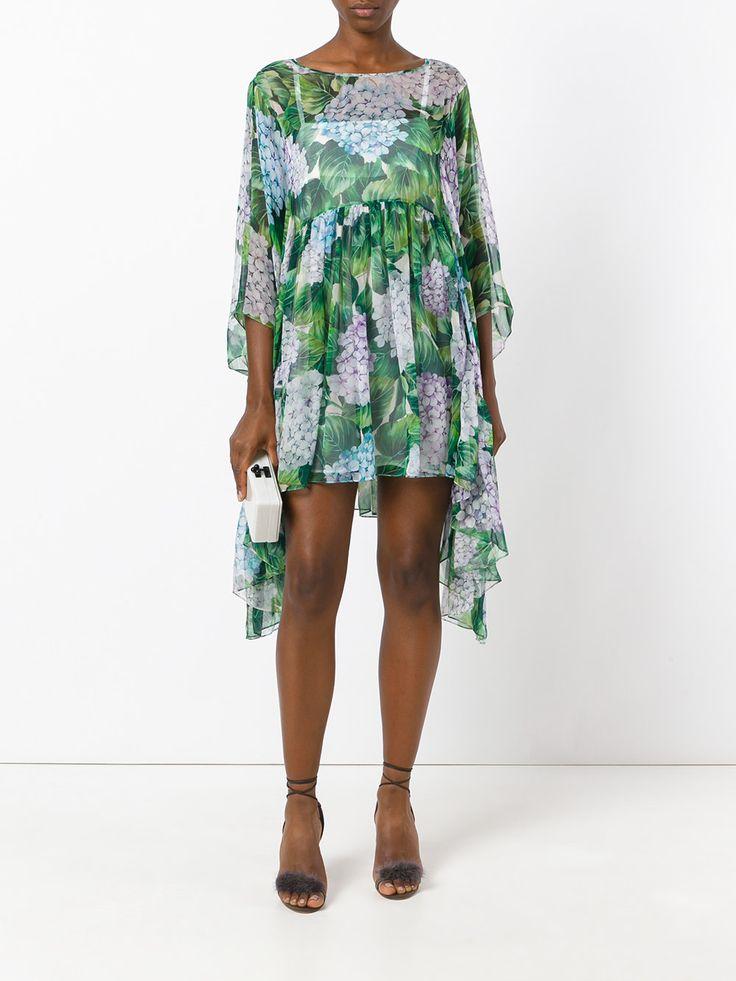Dolce & Gabbana струящееся платье с принтом гортензии