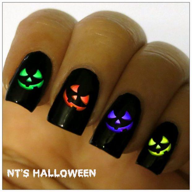 Halloween Nail Decal. 20 Vinyl Stickers Pumpkin Nail Art