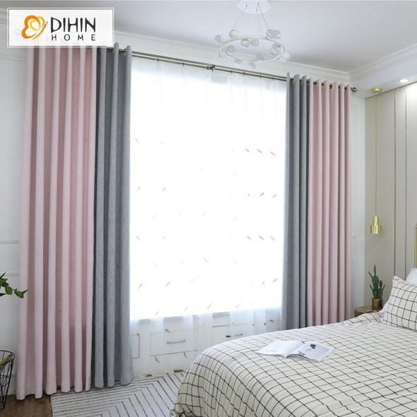 Dihin Home Exquisite Pink And Grey Printed Blackout Grommet Window Curtain For Living Room 52x63 Inch 1 Panel Curtains Living Room Living Room Designs Living Room Windows