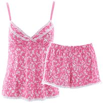 Laura Ashley Pink Birds Floral Short Pajamas for Women