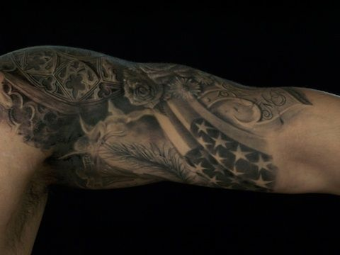 black and white american flag sleeve tattoos - Google Search