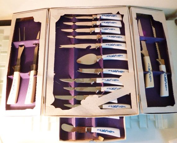 Vintage Sheffield Knives Set Cutlery England Kitchen Cheese Knives Serrated White Handles Blue Flowers