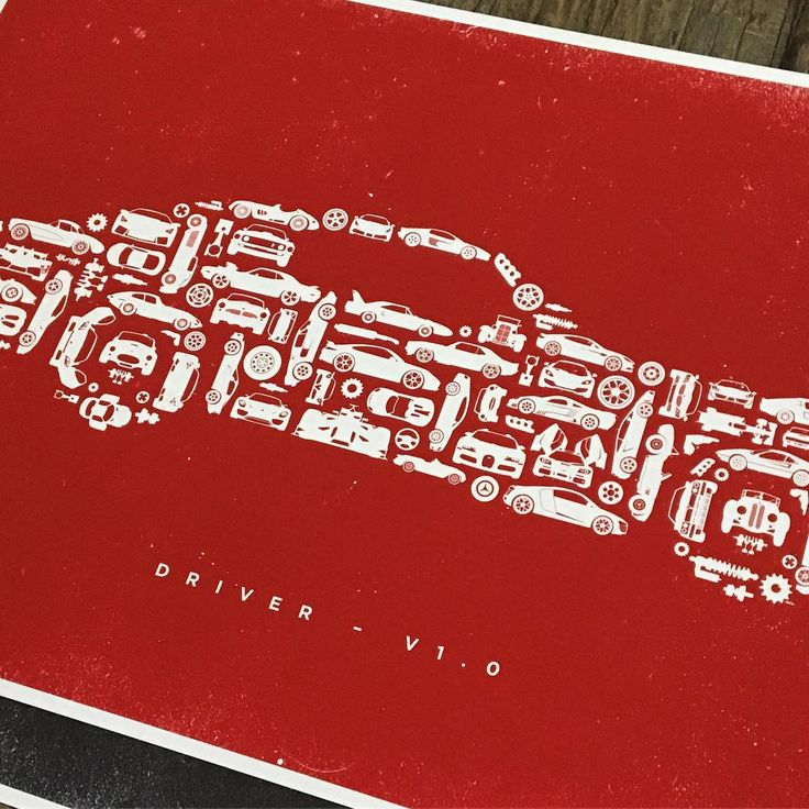 Driver V1.0 in Candy Apple Red. Perfect for the office, studio, garage or man cave. . #car #collage #auto #mechanic #print #hypebeast #drive #thedesigntip #classic #classiccar #porsche #audi #bmw #ferrari #lamborghini #mercedes #maserati #bentley #chevy #ford #mustang #carporn #collection #camaro #snapon @frippdesign