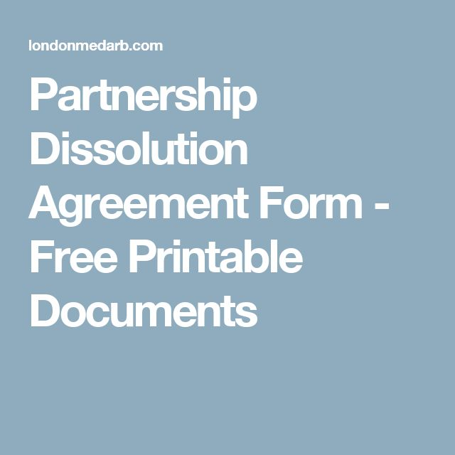 Partnership Dissolution Agreement Form - Free Printable Documents