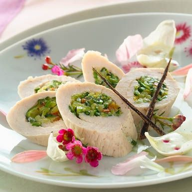 Roulade de dinde farcie aux petits légumes et sa crème vanille - Guy Demarle