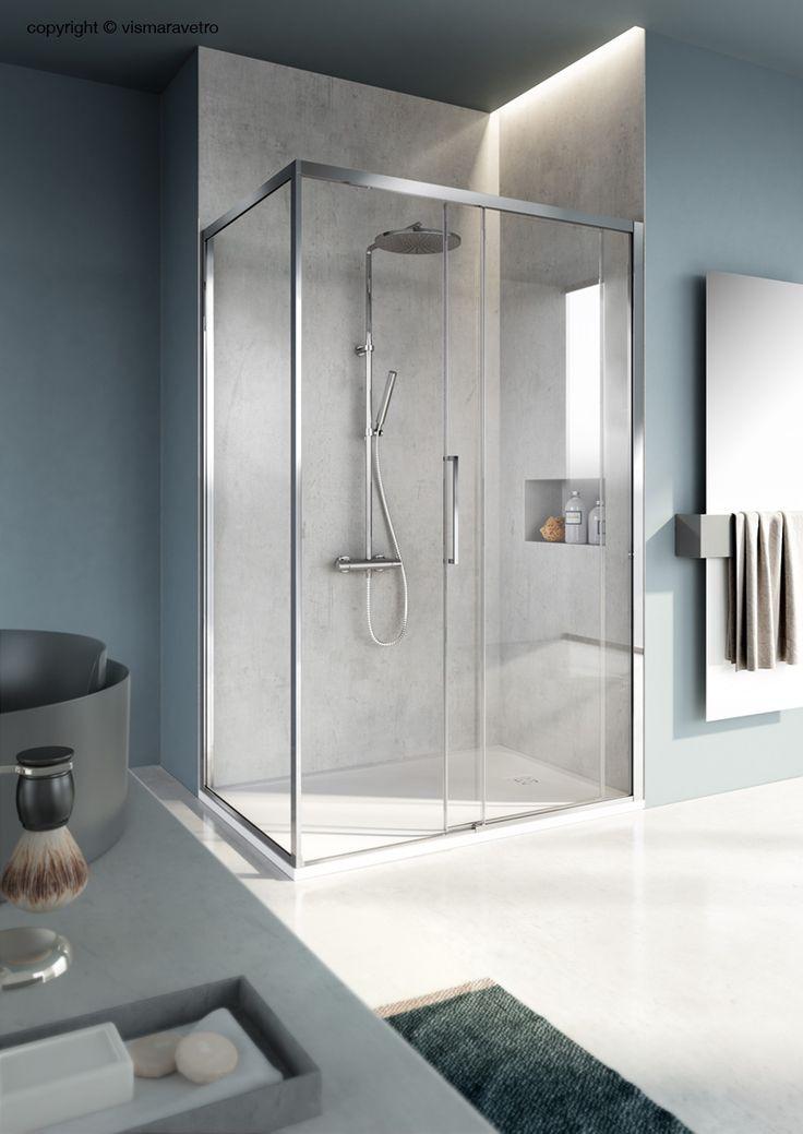 Cabina doccia scorrevole con profili ridotti - #bathroom #bathroomdesign #bath #showerthis #bathtub #showerenclosure #boxdoccia #cabinadoccia