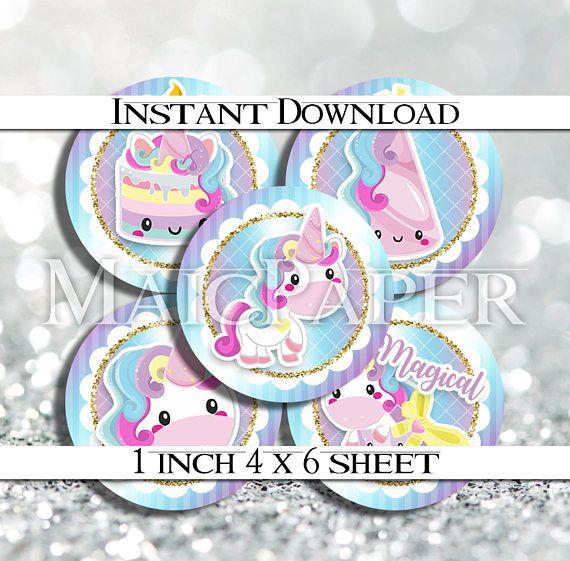 INSTANT DOWNLOAD Kawaii Unicorn Unicorns Rainbow 4x6 Digital