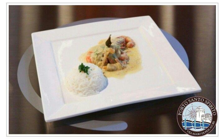 Gamberi di #portosantospirito all'indiana con latte di cocco e riso Jasmine preparato da Lorenzo nella scorsa puntata di Masterchef Italia