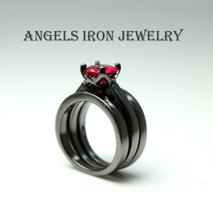 Black Gold Ring Enagagement Wedding Anniversary Promise Rings Multi Band Red Ruby Solitaire CZ Women Unique Jewelry