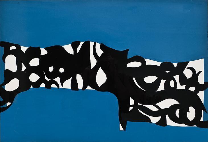 "socialclaustrophobia: "" Carla Accardi (Italian, 1924–2014) / Bianco-nero, su turchese (1960) Casein tempera on paperboard mounted on linen, 18½ × 27 in (47 × 68.5 cm). """