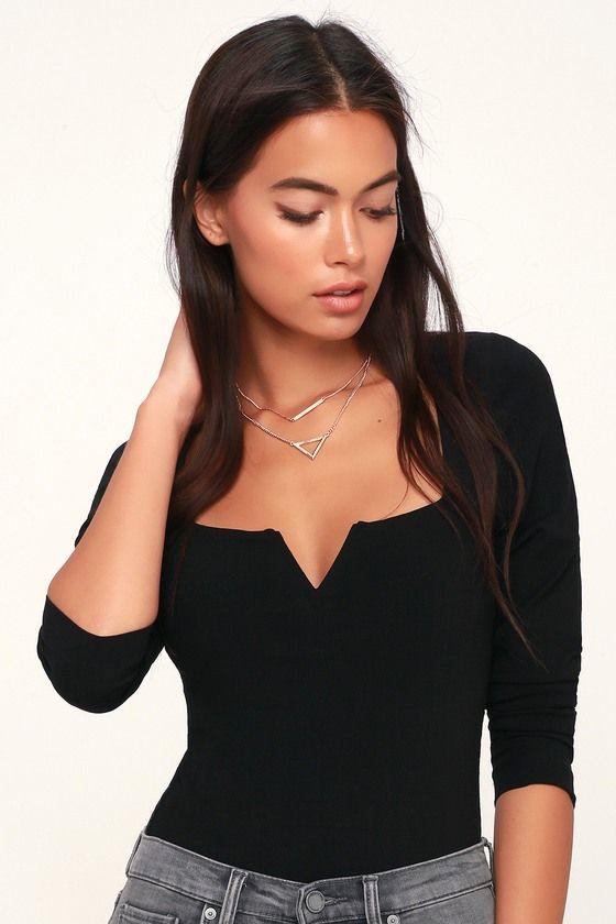 Zoe Black Long Sleeve Bodysuit | Black bodysuit longsleeve