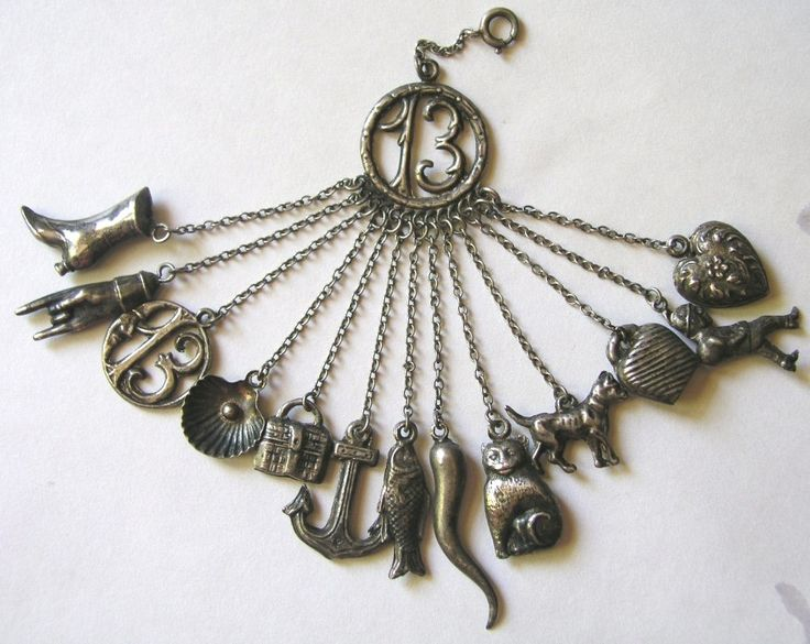 Rare german antique, ca 1870-1880, silver lucky chatelaine with all 13 original charms attachedAntiques Silver, Jewelry Inspiration, Households Items, Magnifying Glasses, 1870 1880, Women Accessories, 13 Charms, German Luck, Luck Chatelaine