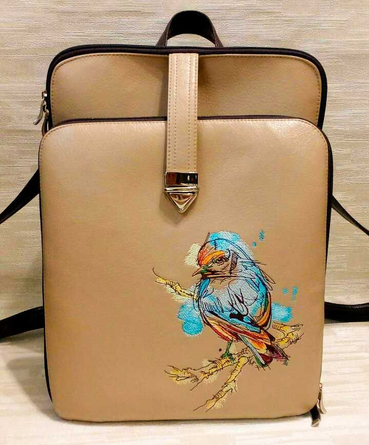f74c4bbc3fed Stylish modern ladies bag with European goldfinch on tree branch embroidery   Europeangoldfinch  treebranch  embroideres  Stylish  modern  ladiesbag  design ...
