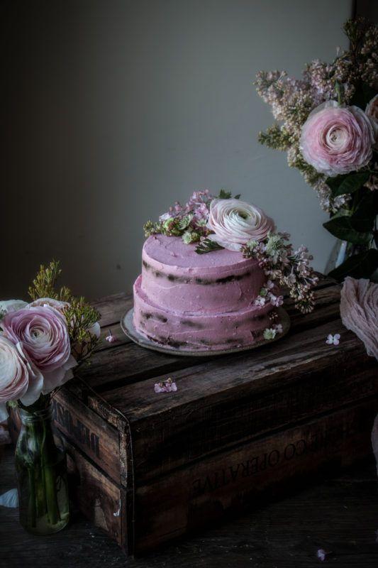 vegan chocolate orange cake with beet dyed frosting - twigg studios