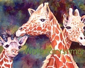 Giraffes -  Watercolor - 8 x 11 - Print - matted, Africa - zoo -giraffe - animals - orange - whimsy - digital - jewel tone by watercolorsNmore on Etsy