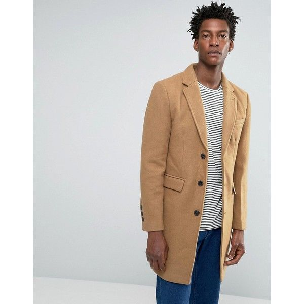 Bellfield Tan Wool Overcoat (3,090 DOP) ❤ liked on Polyvore featuring men's fashion, men's clothing, men's outerwear, men's coats, beige, tall mens coats, mens tan wool coat, big tall mens wool coats, mens wool outerwear and mens fur collar coat