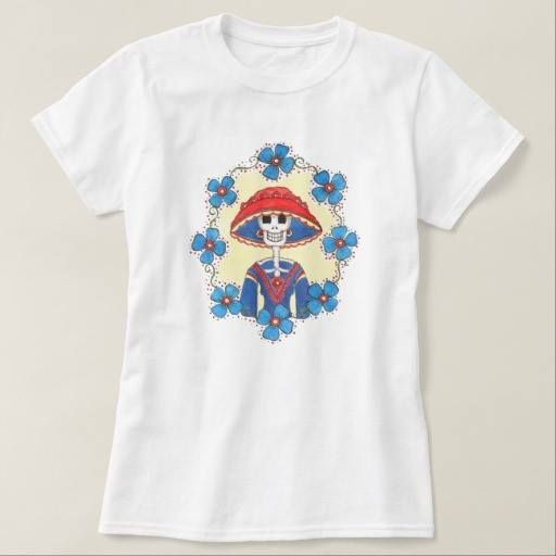 (Funny Mexican Skull t-shirt) #Catrina #DayOfDead #DiaDeMuertos #Floral #Folk #Funny #Girly #Mexican #Multicolor #Skull is available on Funny T-shirts Clothing Store   http://ift.tt/2gDI5z5