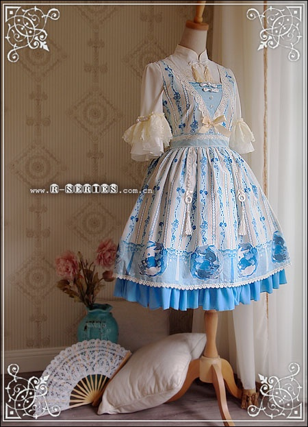 R-Series blue and cream Bunny Rabbit print JSK with rabbit embroidery Qi lolita blouse. The print on this JSK is seriously adorable!